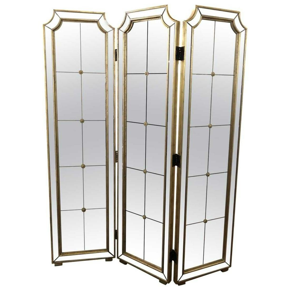 Hollywood Regency Folding Mirrored Screen