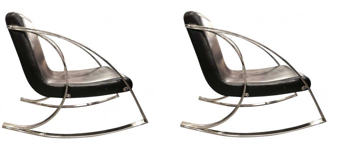 Modern  Chrome Rocking Lounge  Chairs