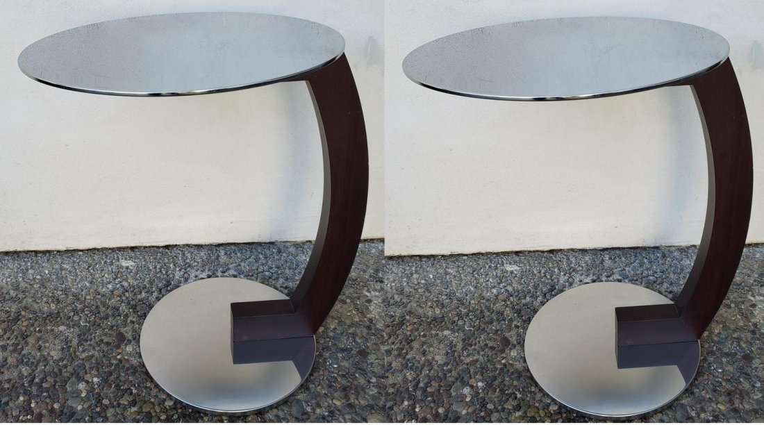 Pair of Roche Bobois Modern Chrome and Wood Side Tables