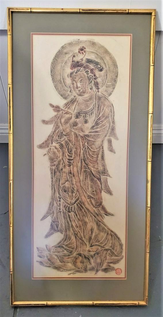 Signed Oriental Print of Asian Goddess