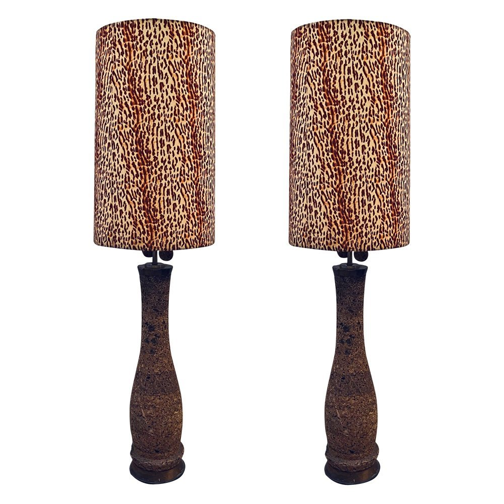Monumental Floor Lamp With Tall Zebra Shade