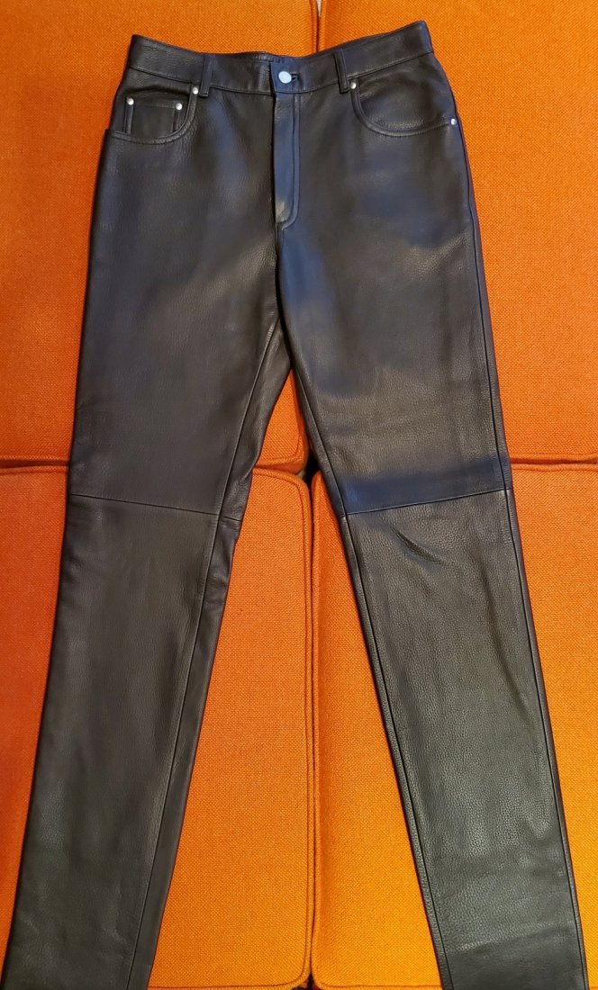 Authentic Hermes Dark Brown Leather Pants Size 40`