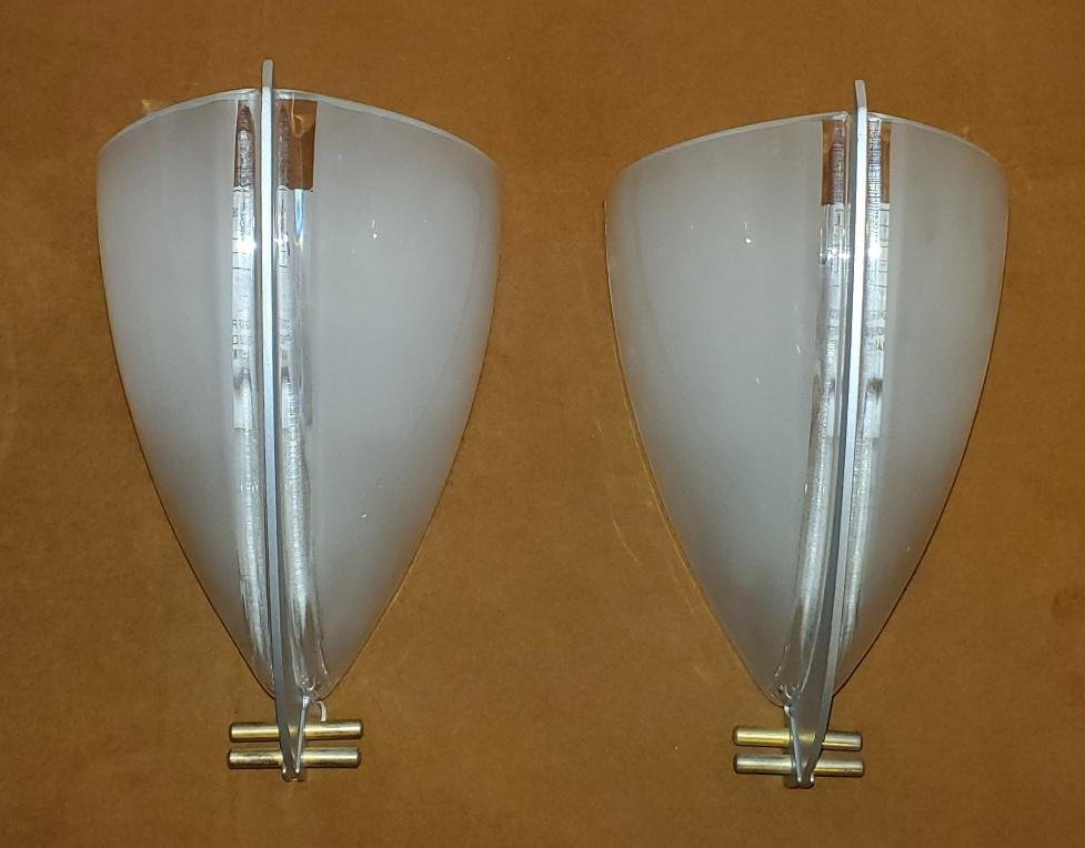 Post Modern Italian VeArt Glass and Chrome Sconces