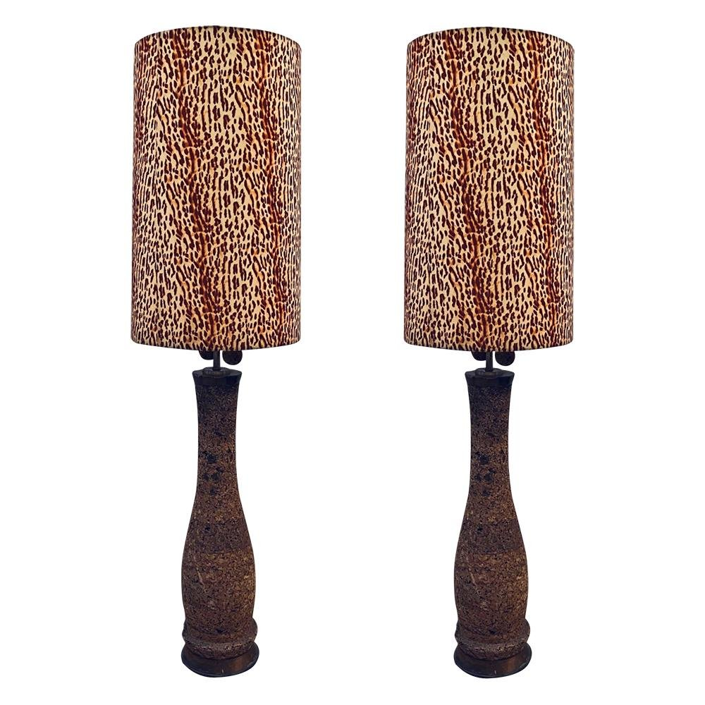 Pair of 80s Monumental Cork Floor Lamp W/Leopard Shade