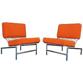 Post Modern Italian Chrome Pair of Lounge Chairs