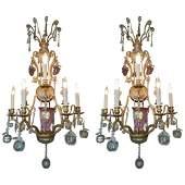 Pair of 1920s Brass and Hand Blown Murano Glass