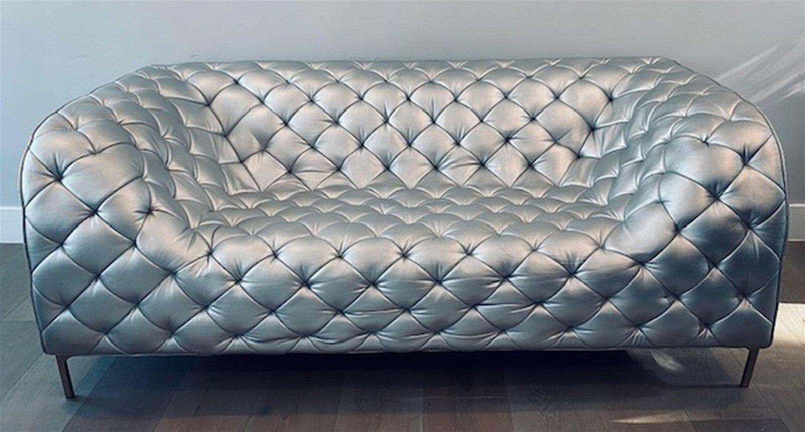 Italian Tufted Metallic 80s Leather Sofa