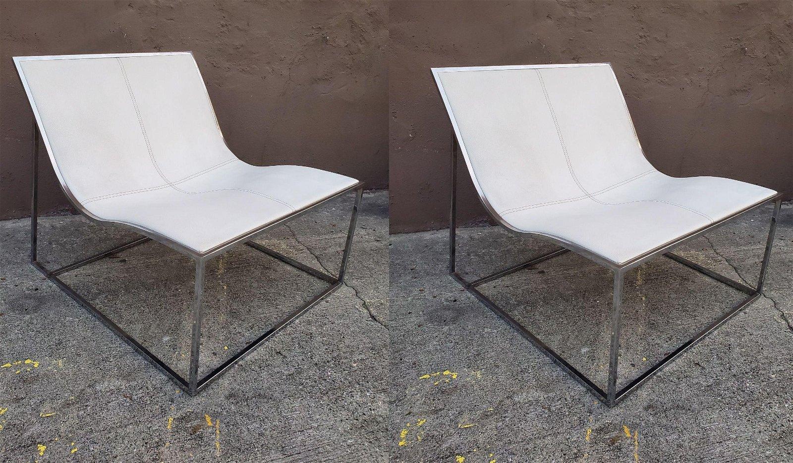 Pair of B&B Italia Contemporary modern Lounge Chairs