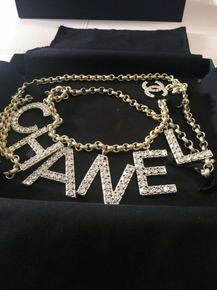 Auth Chanel  Runway Gold Crystal Letter Belt/Necklace