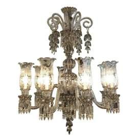 Bacarat  Style Platinum Overlay Bohemian Eight-Light