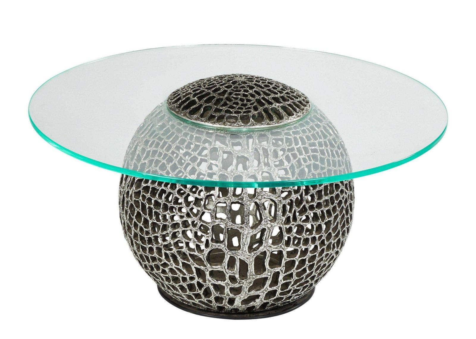 Italian 1970s Organic Cast Resin Glass Top Coffee Table