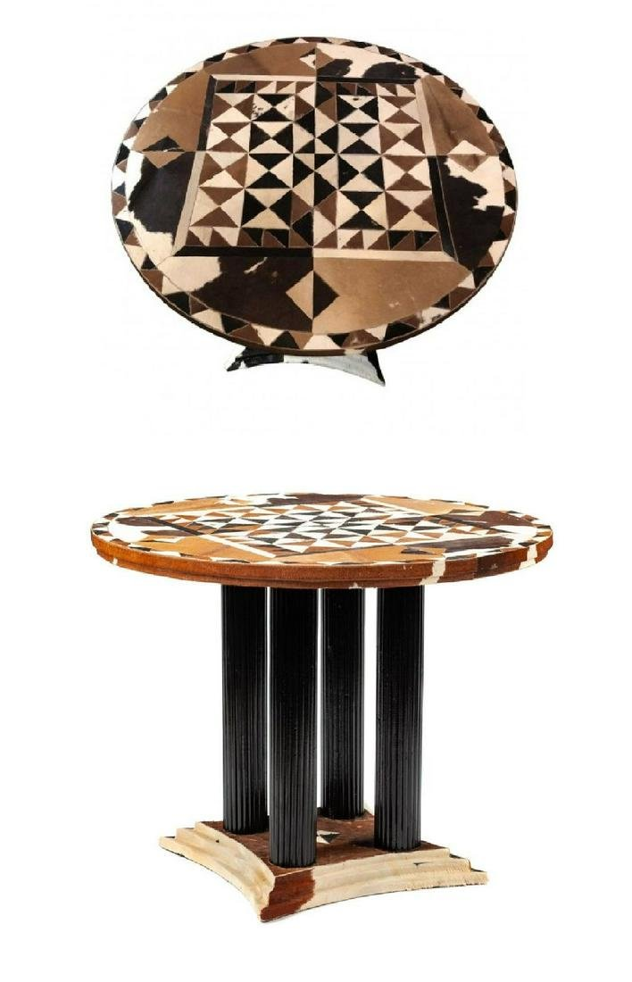 Cowhide Inlaid Table Patch Work Center/Side Table