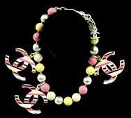 Chanel MultiColor Beaded Striped Lucite Charm Bracelet