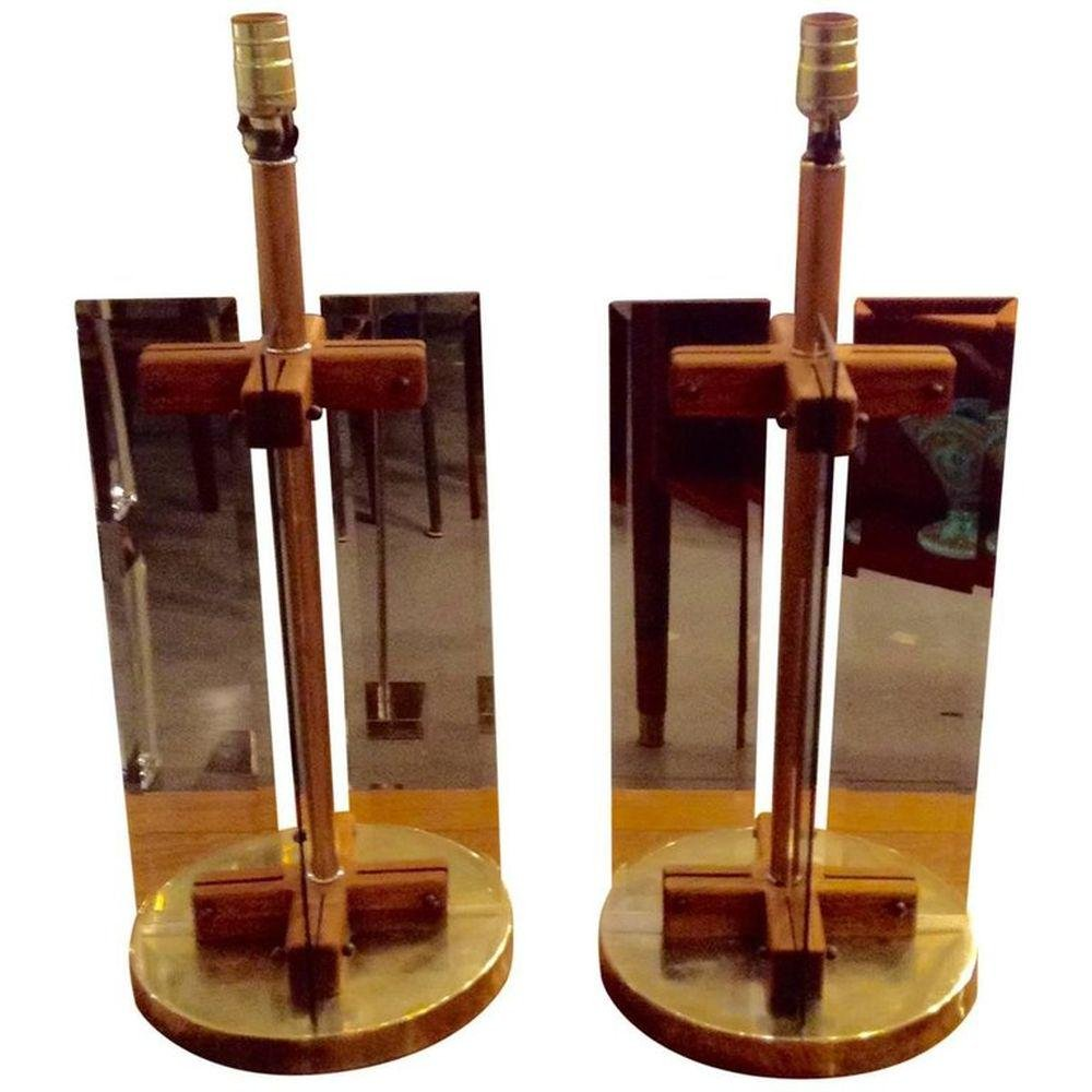 Danish Mid Century Modern Teak and Glass Table Lamps