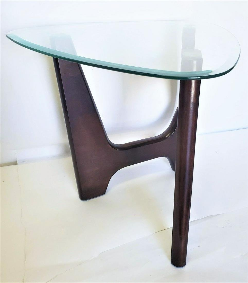 Modern Foldable Three Legged Beveled Glass Coffee Table