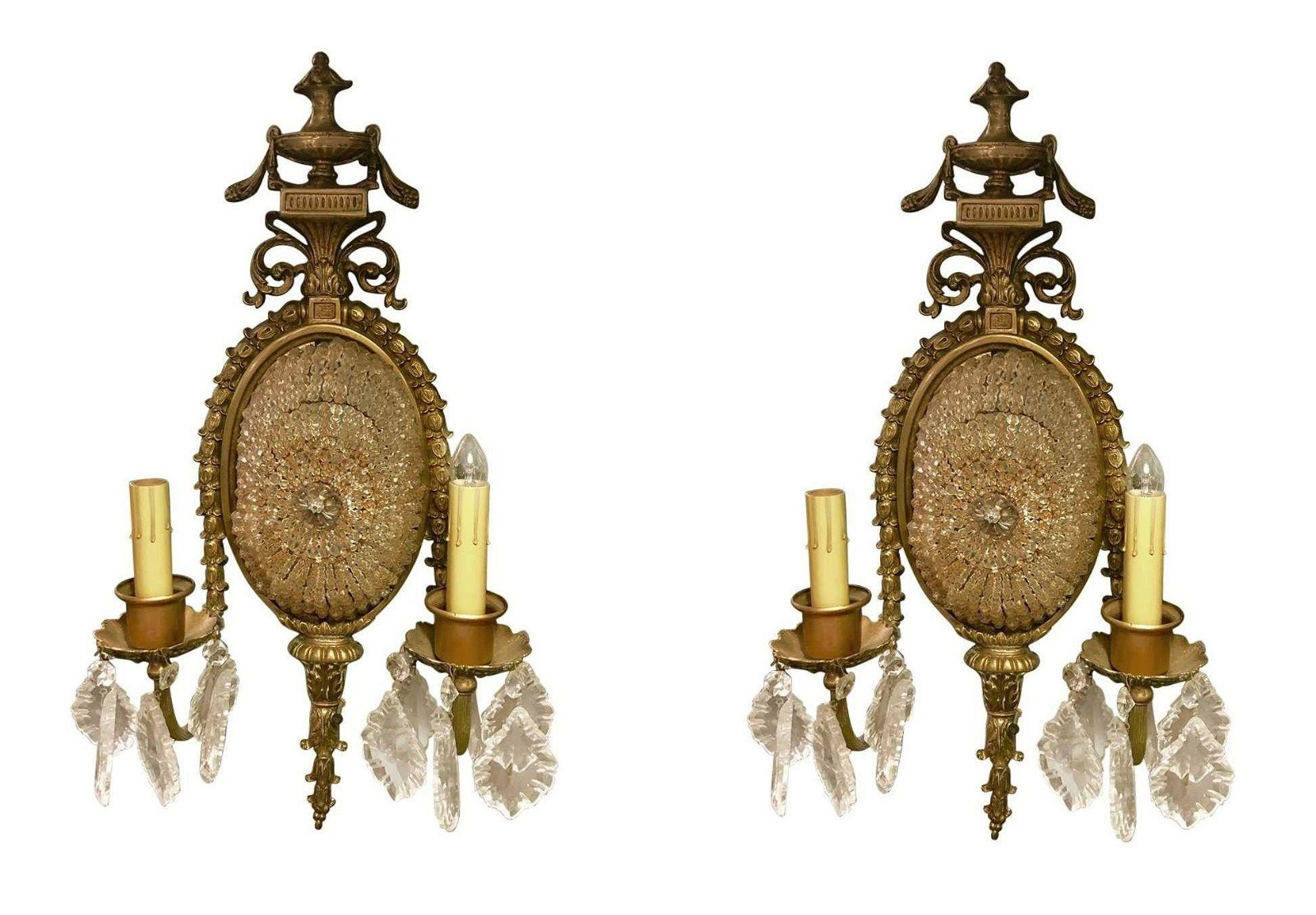 French Antique Crystal Wall Sconces
