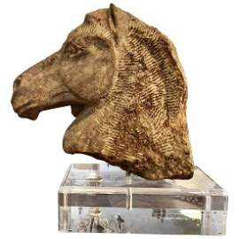 Carved Stone Horse Head on Lucite Base