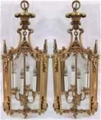 19thc Pair French Bonze Ormolu 4 Light Hanging Lanterns