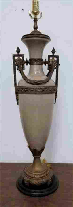 Vintage Pottery Urn Table Lamp W/ Brass
