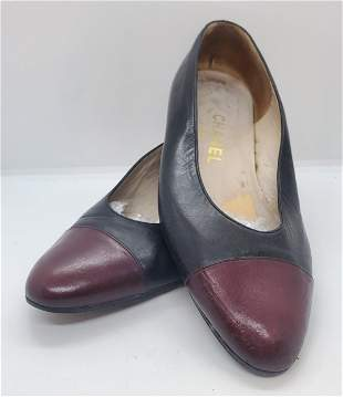Chanel Black and Burgundy Tip Flats Size 38 shoes