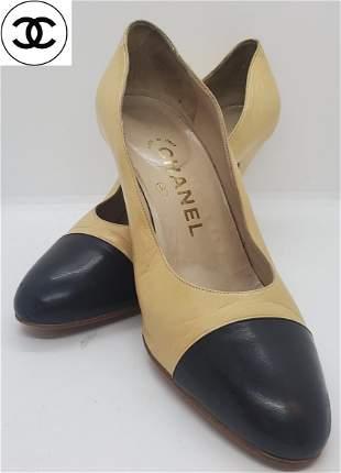 Chanel Beige w/Black Tip high heel Size 36