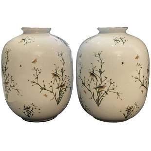 Pair of Rosenthal German Porcelain Ovoid Vases