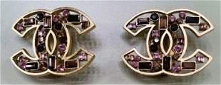 Chanel  Rare Crystal  Amythest CC Earrrings