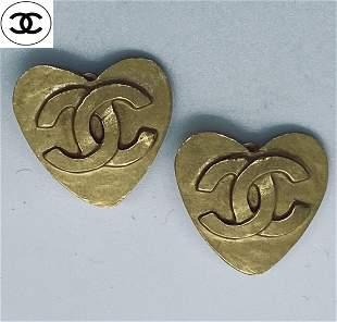 Authentic Chanel Heart Shape CC Earrings