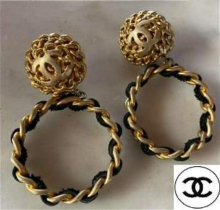 Chanel Vintcage Clip on Hoop Ear Rings