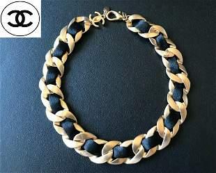 Chanel Interwoven Matte Necklace W/cc Logo