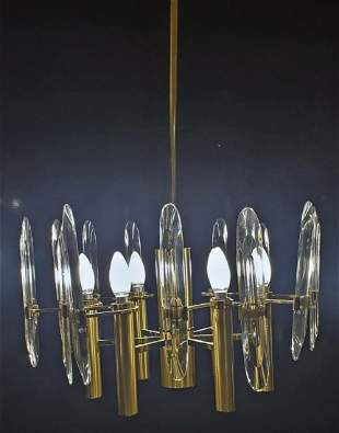 Gaetano Sciolari Brass & Crystal Glass Chandelier,