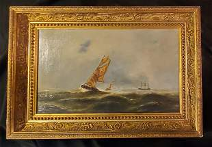 Early 20thc Oil Painting of Search Crew