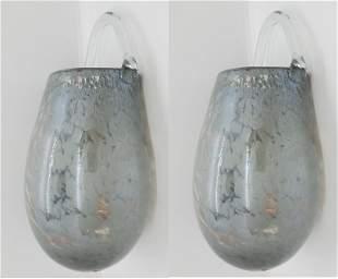 Gray Hand Blown Murano Glass Bulb, Pair