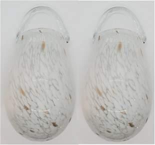 White Hand Blown Murano Glass Bulb, Pair