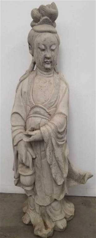 Antique Kwan Yin cement garden statue, 48inch