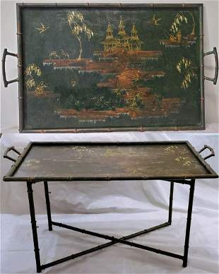 French Hand Painted Metal/Bamboo Chinoiserie