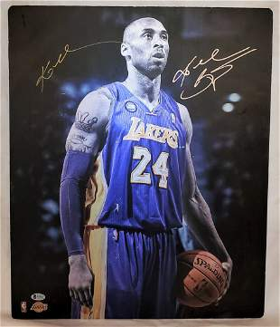 Rare Signed Large Kobe Bryant Metal Promotional Card 22