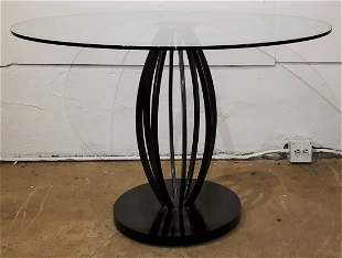 Contemporary Modern Metal Pedestal Glass Top Table