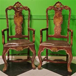 Pair of Continental Carved hand Painted Side Chairs