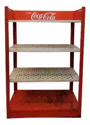Vintage 80s Metal Coca Cola Four Tier Shelf