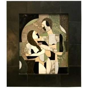 contemporary F.Aguila mixed raised stone abstract