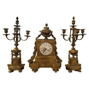 Antique Louis XVI Style 3Piece Clock Garniture