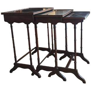 Regency Style Inlaid Rosewood Nesting Tables