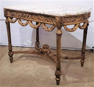 French Carved Gilt Wood Marble Top Table/Center Table