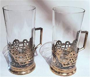 Pair of Russian Sterling Silver Cups With Enamel
