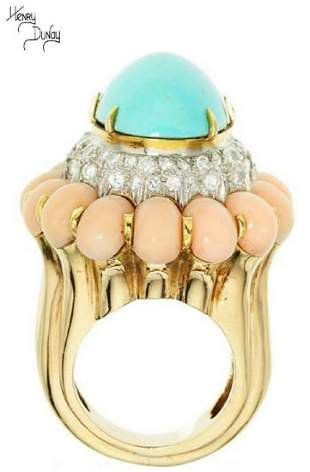 Henry Dunay Turquoise, Coral, Diamond, Gold Ring