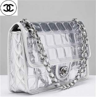 Large Rare Auth  Chanel Leather ice Cube Hand Bag With