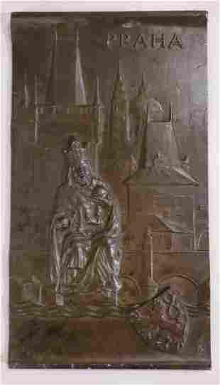 Antique Bronze Praha Plaque