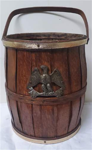 Late 19thc Wooden barrel W/Brass Eagle