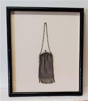 late 19thc Silver Framed hand bag